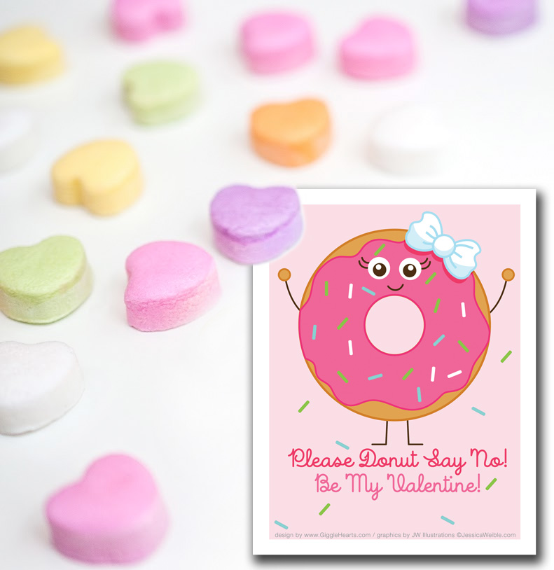 Free Valentine's Day Card : Download this Cute Donut Valentine Freebie from www.GiggleHearts.com {donut graphic from JessicaWeible.com}