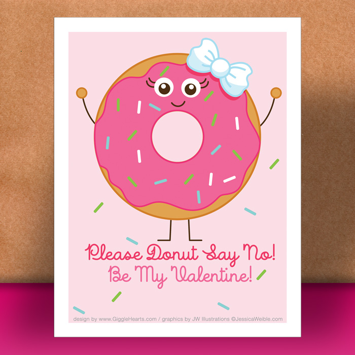 Download Your FREE Donut Themed Valentine Card Printable at www.GiggleHearts.com
