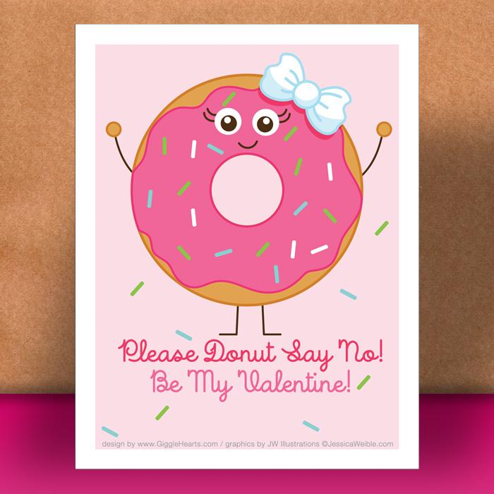 Valentine Freebie : Donut Themed Valentine's Day Card to ...