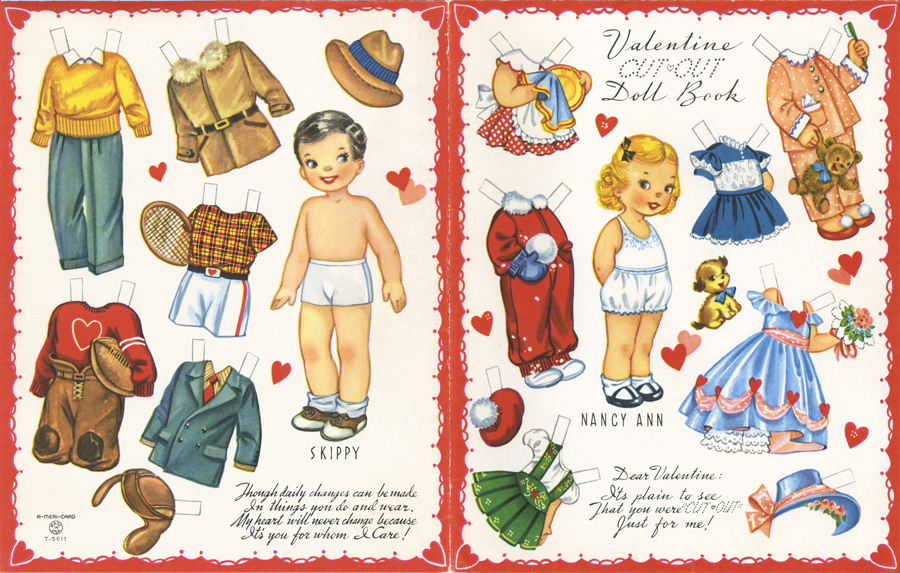 Vintage Paper Dolls   circa 1952 / as seen on www.GiggleHearts.com