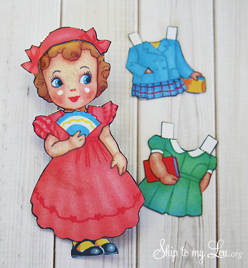 Printable Vintage Valentine Paper Doll Card   from Skip to My Lou / as seen on www.GiggleHearts.com