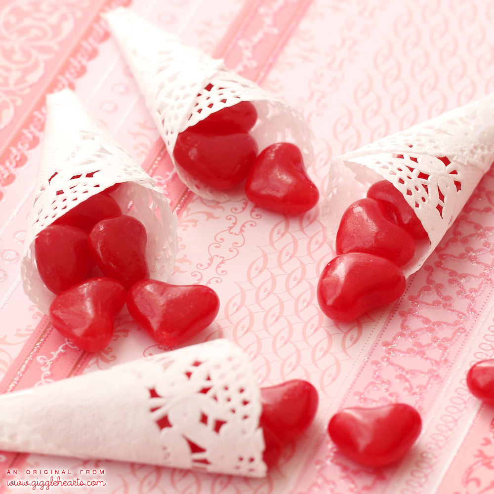 DIY Paper Cones for Valentine's Day / Valentine's Day Crafts / Mini Paper Doily Cones for Valentine's Day Candy or Confetti Holders / Valentine Party Favors / As seen on Giggle Hearts www.GiggleHearts.com