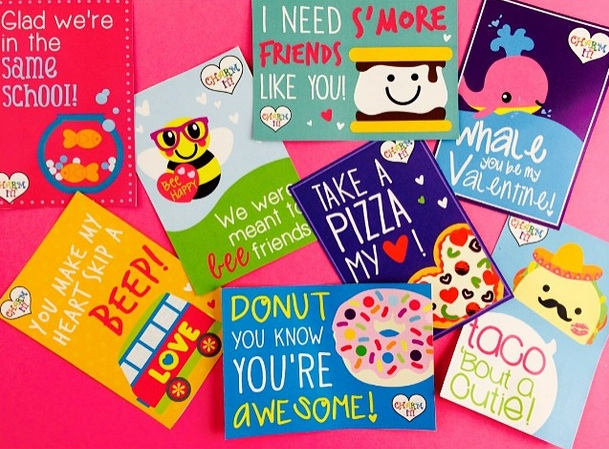"Free Printable Valentine's Day Cards from Charm It! / ""You Brighten My Day"" ""Taco 'Bout a Cutie"" and many more choices / as seen on www.GiggleHearts.com"
