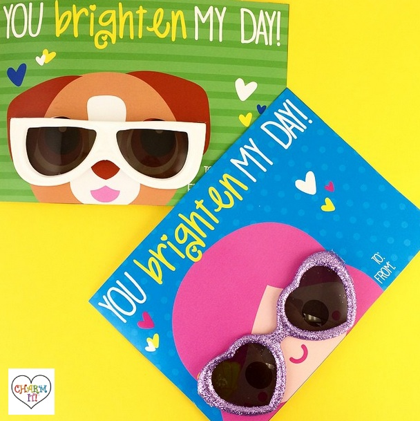 "Valentine's Day Cards from Charm It! / ""You Brighten My Day"" / as seen on www.GiggleHearts.com"