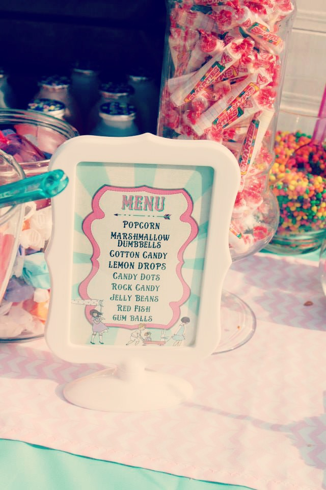 A 3rd birthday party - vintage themed with modern touches - the dessert menu / created by EAE Personalized Creations / as seen on www.GiggleHearts.com
