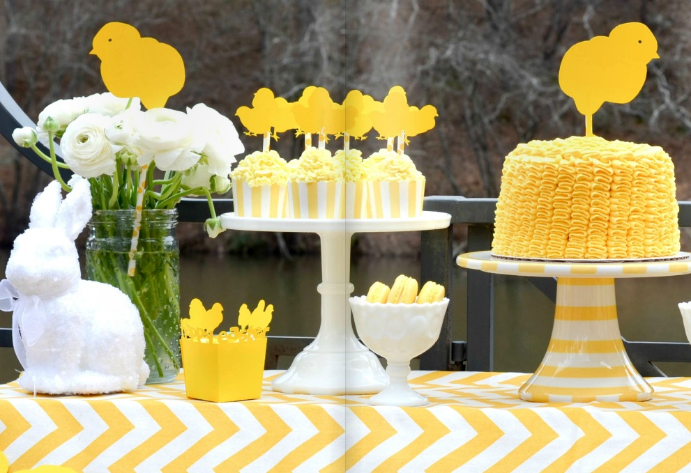 Yellow Chick Dessert Table from Deliciously Darling - as seen in Bird's Party Magazine via www.GiggleHearts.com