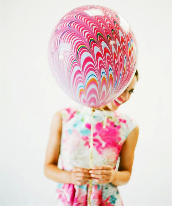 Pretty Marble Balloon with Handmade Tassel / as seen on www.GiggleHearts.com