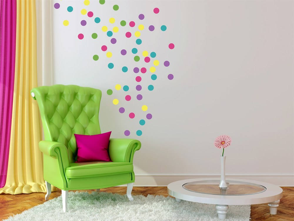 Confetti Wall Decals in Pink, Purple, Seafoam and Green : Dress Up Any Kids Bedroom or Party Room / as seen on www.GiggleHearts.com