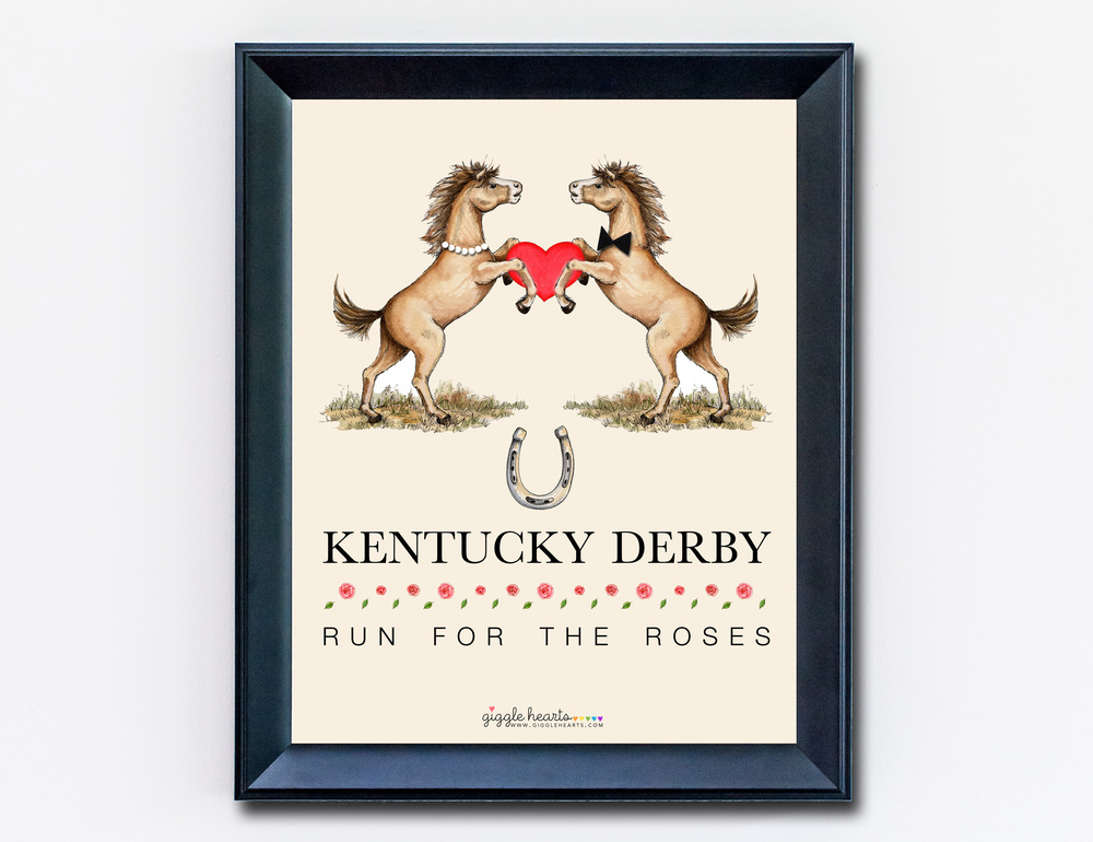 Free Printable Kentucky Derby Poster / Celebrate the Run for the Roses at Home / as seen on www.GiggleHearts.com