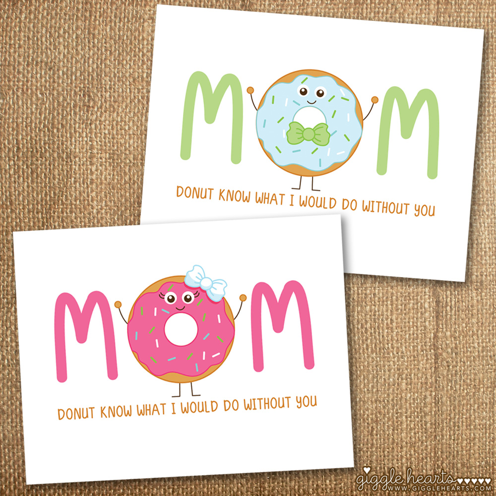 Free Printable Boy + Girl Donut Mothers Day Card / as seen on www.GiggleHearts.com