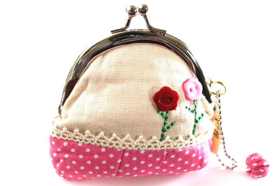 Pink and White Polka Dotted Coin Purse with Embroidered Button Flowers