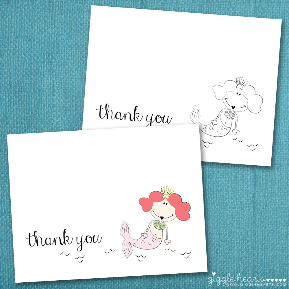 free printable mermaid thank you cards {perfect for summer parties}