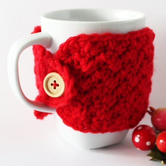 Christmas in July Holiday Themed Red Crocheted Cozy for Coffee and Tea Mugs
