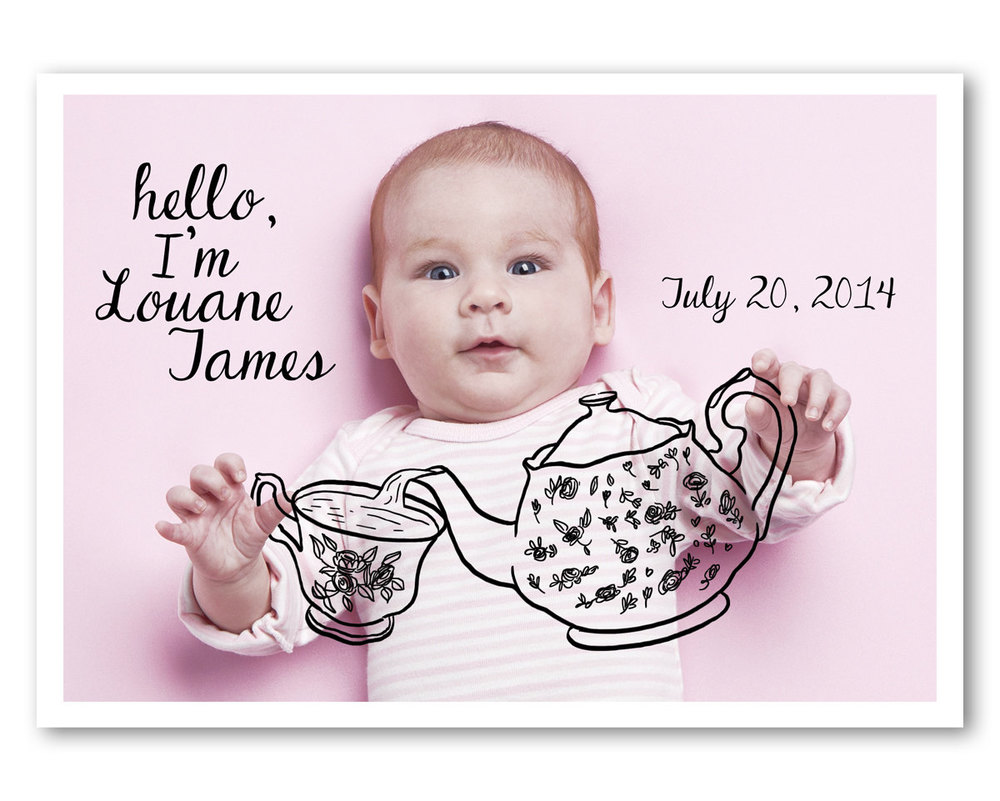Sweet Birth Announcement with a Digital Drawing on your Favorite Baby Photo - this one . . . it's a tea party