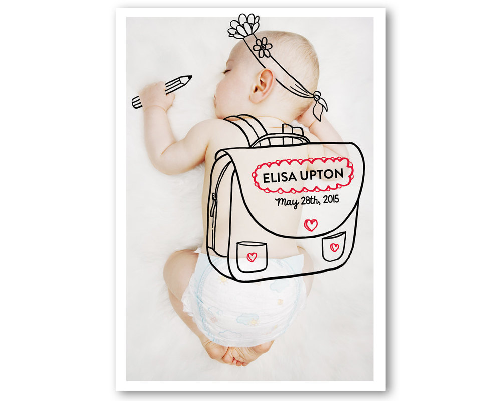 Sweet Birth Announcement with a Digital Drawing on your Favorite Baby Photo - this one . . . school is hard work