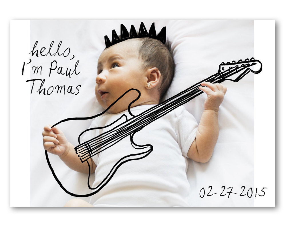 Sweet Birth Announcement with a Digital Drawing on your Favorite Baby Photo - this one . . . I'm a rockstar