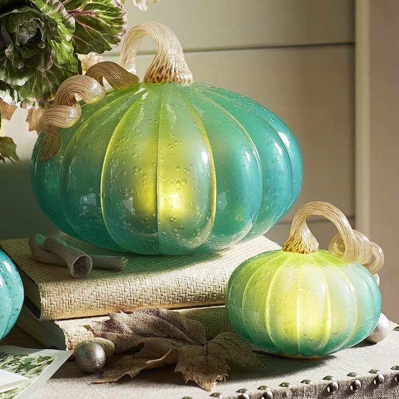 Enchanting Green LED Pumpkins - perfect for Halloween and Fall Decorating