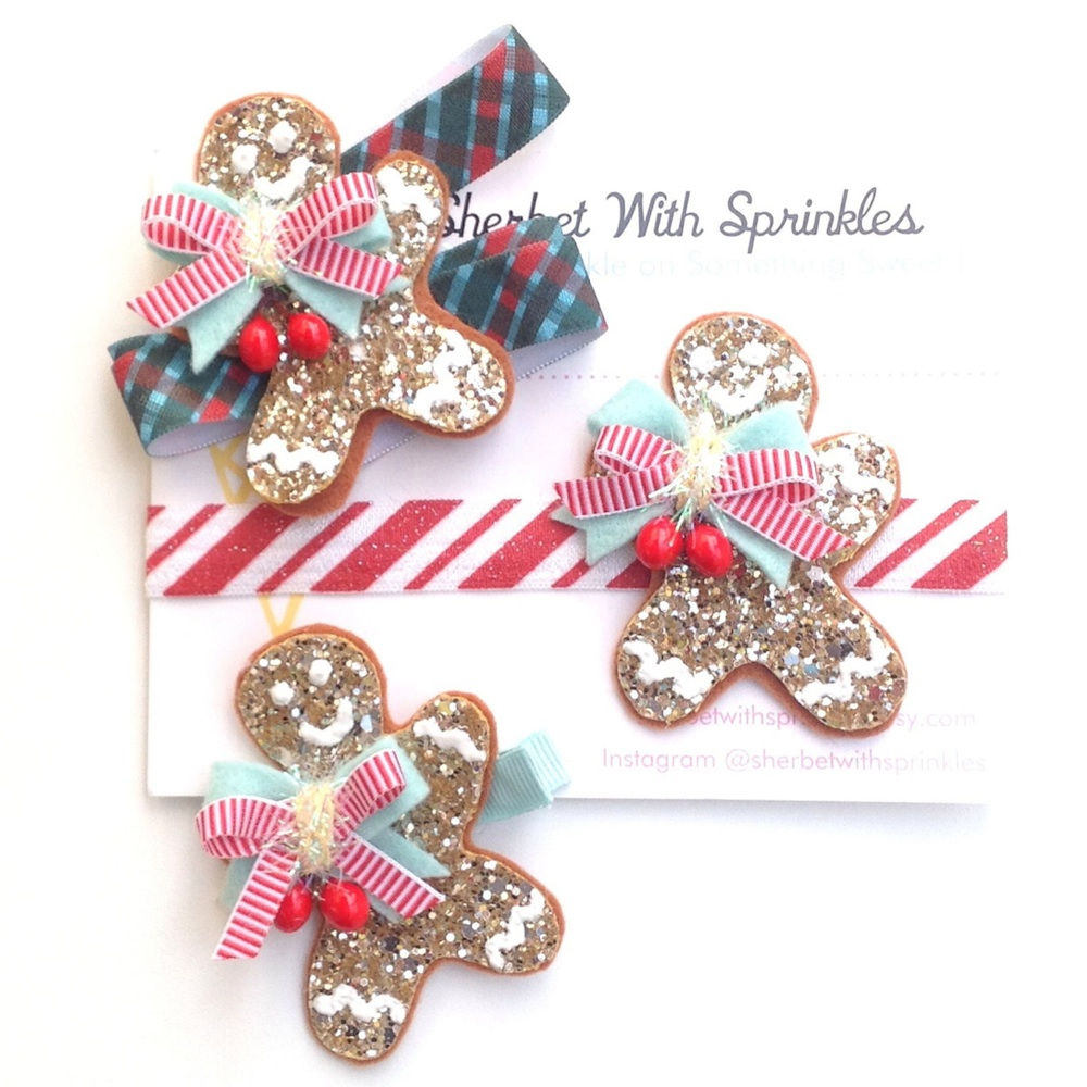 Retro Glitter Gingerbread Cookie Hair Clips by Sherbet with Sprinkles