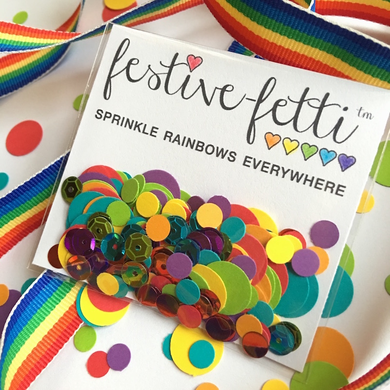 Sprinkle Rainbows Everywhere with festive-fetti Confetti - Click Here to Shop Now