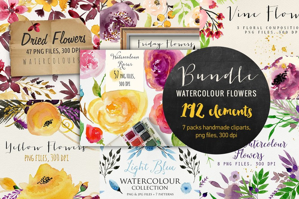 Gorgeous Bundle of Watercolor Flowers for DIY for party invitations, wedding invitations, handmade craft items, scrapbooking, printed paper items and more {buy now}