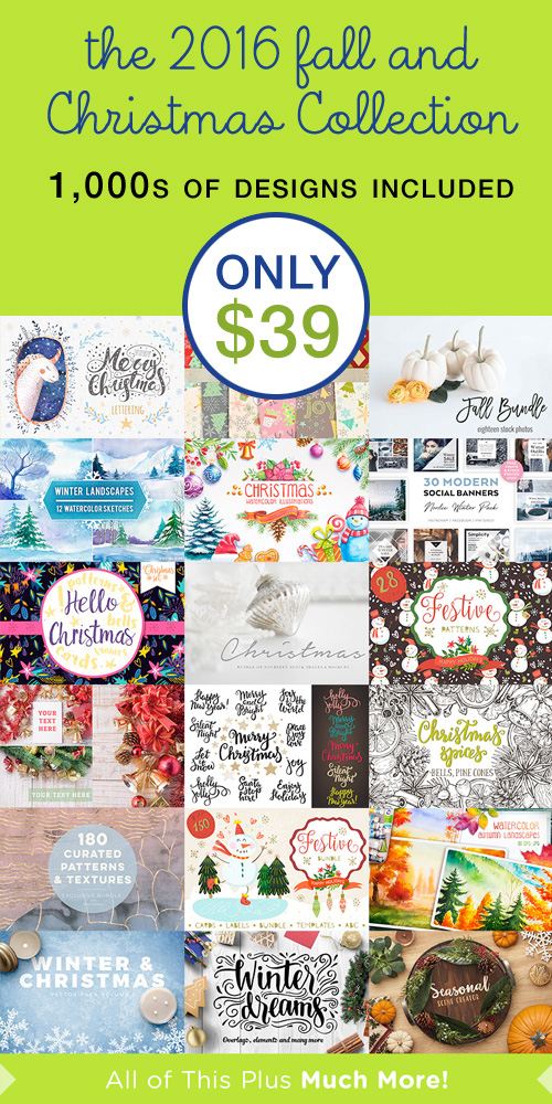2016 Christmas Illustration Collection | Fall Illustrations | Christmas Clip Art for DIY Holiday Cards