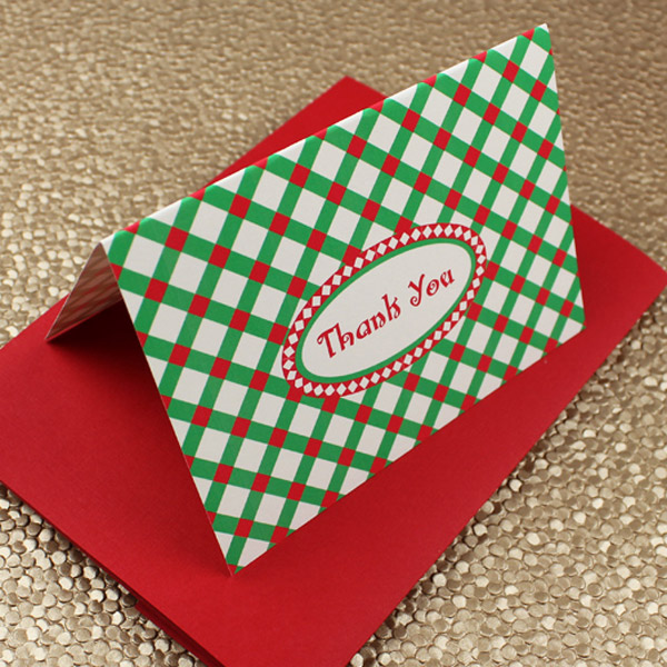 Click to Download your Free Christmas Plaid Thank You Card Template