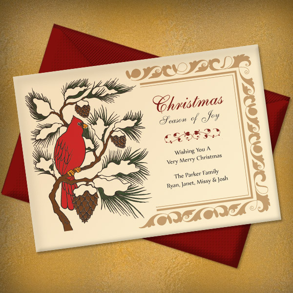 Click to Download your Free Christmas Red Cardinal Invitation Template