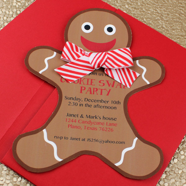 Click to Download your Gingerbread Holiday Cookie Party Invitation Template