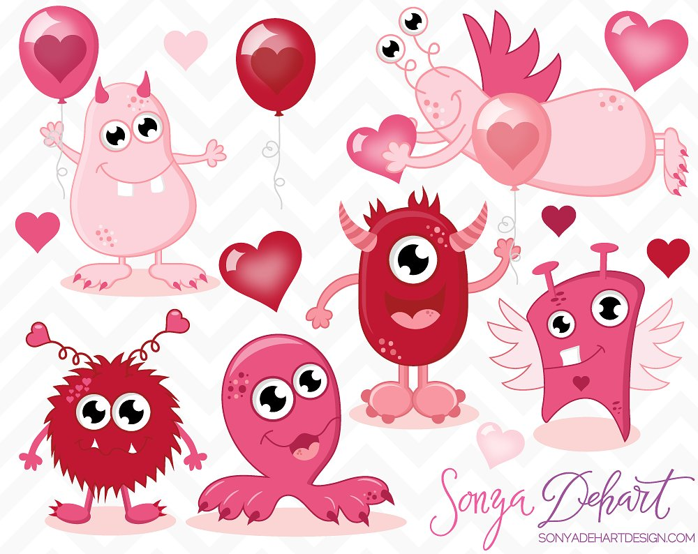 Valentine's Day Monsters Clip Art - so fun for creating Valentine's Day Cards or Birthday Party Invitations