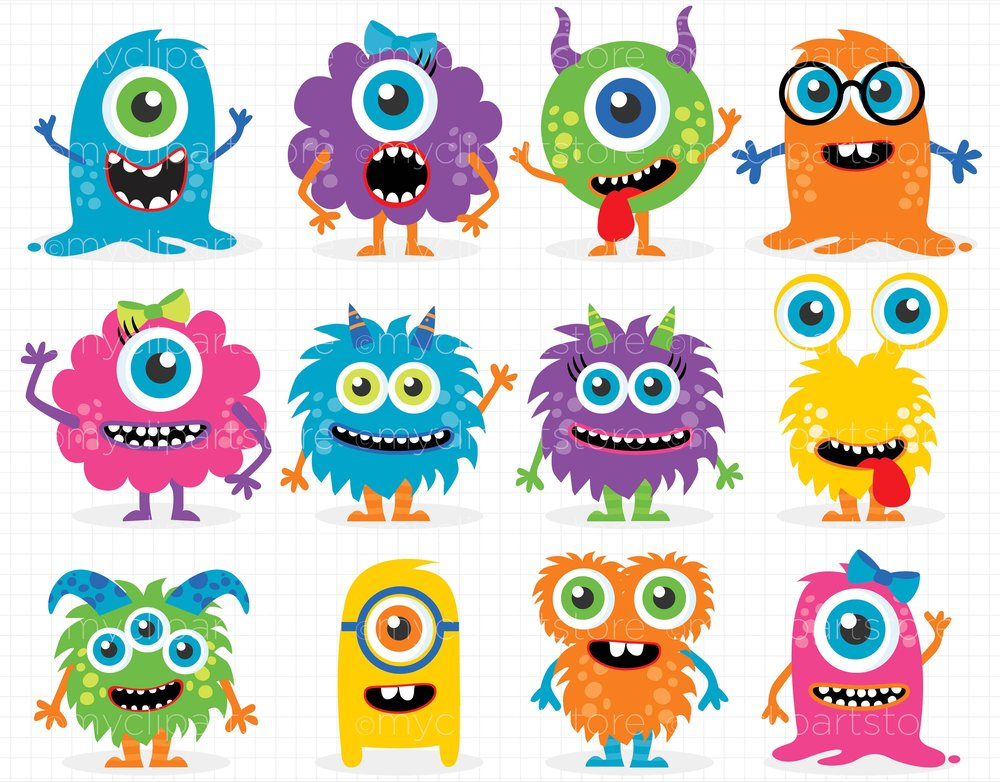 Monsters Friends Clip Art set - perfect for birthday party invitations