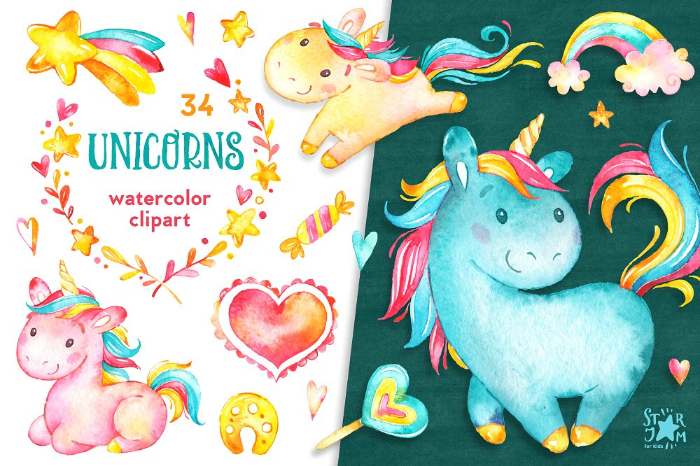 Unicorns Watercolor ClipartCollection | Unicorn Illustrations | Clip Art for DIY Birthday Cards
