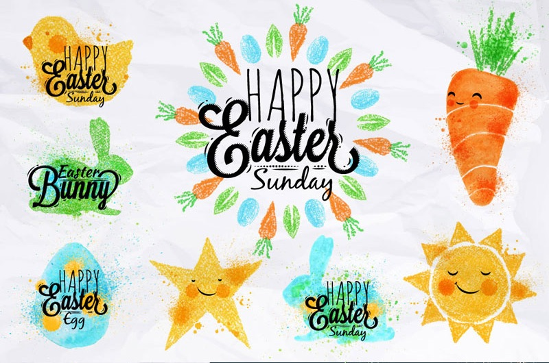 Easter Watercolor Illustration Collection - only $27 for over 21 sets of themed watercolor art for designing invitations, place cards, banners, holiday printables and more. See more at www.GiggleHearts.com