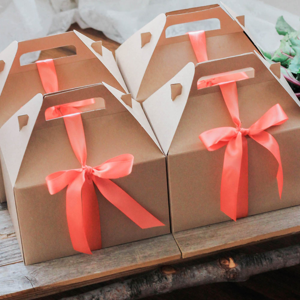 It's Some Bunny's Spring Birthday Party Favor Boxes - Kraft Gable Boxes with Orange Satin Ribbon . . . click to see more on www.GiggleHearts.com