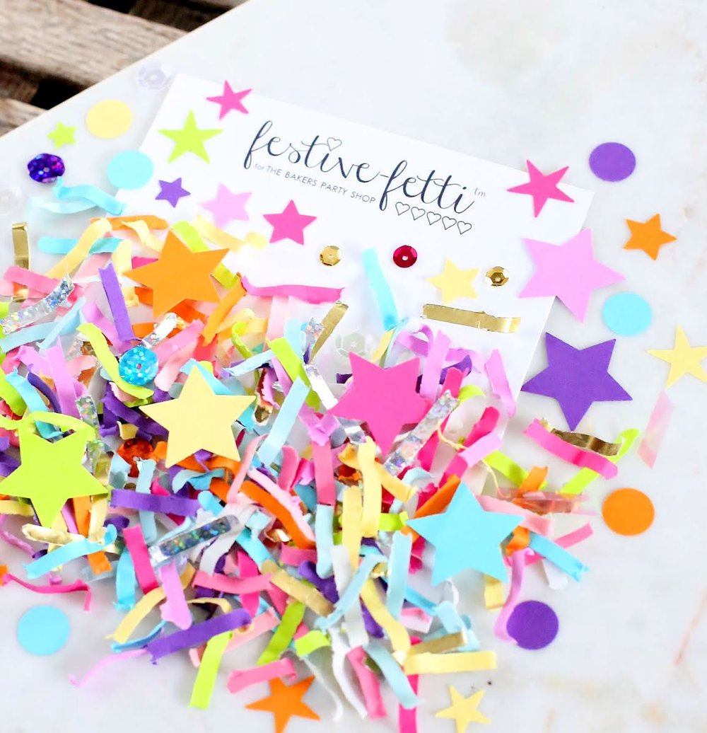 Colorful Unicorn Must-Have Party Items for a Perfectly Styled Unicorn Theme Dessert Table - Unicorn Festive Fetti Confetti with Stars - from The Bakers Party Shop - see more on www.GiggleHearts.com