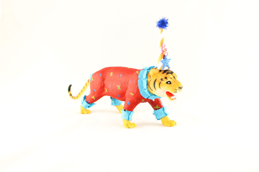 Tiger Circus Cake Topper / Hand Painted Tiger Birthday Party Decoration from Painted Parade / see more on www.GiggleHearts.com