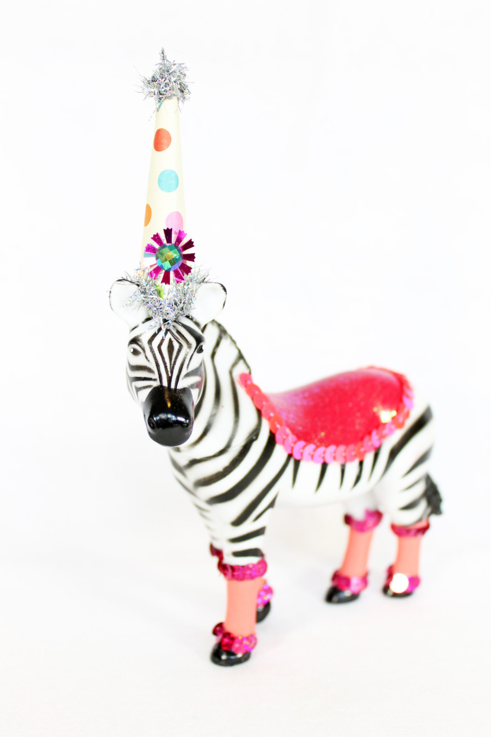 Zebra Circus Cake Topper / Zebra in Birthday Party Hat / Table Decoration from Painted Parade / see more on www.GiggleHearts.com