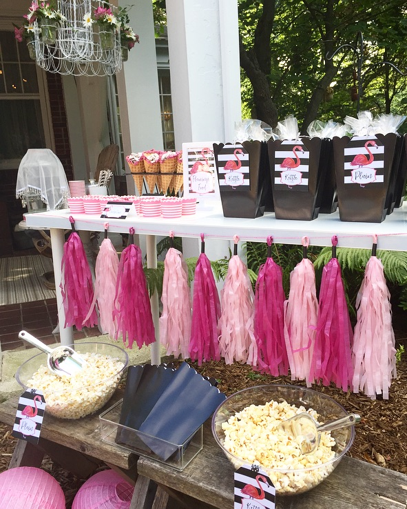 Pink Flamingo Popcorn Station for the Flamingo Outdoor Movie Party from Lori of Giggle Living - as seen on www.GiggleHearts.com