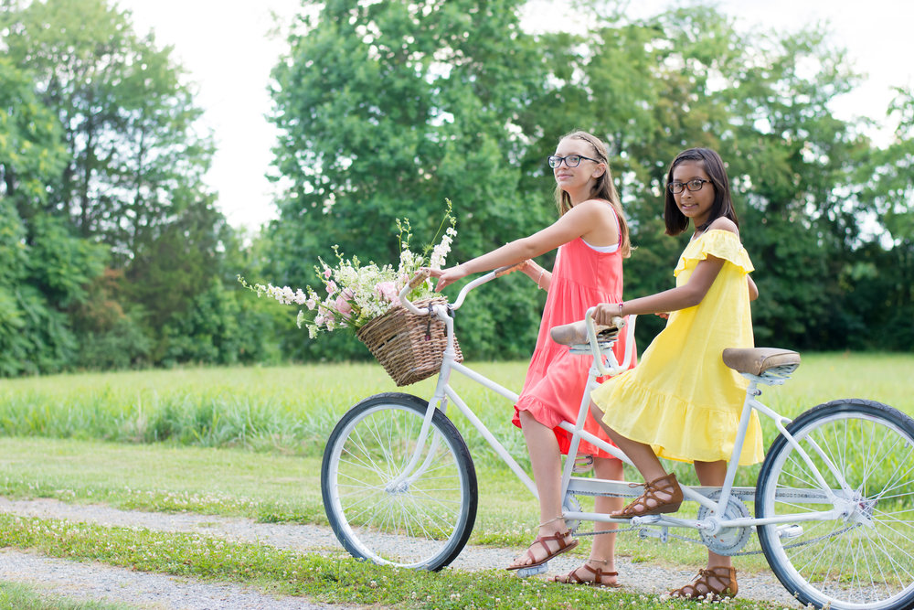 Vintage Garden Birthday Party Ideas for Tweens / take photos of birthday girl with friends on a tandem bicycle / photo by Honeysuckle Rose Photography - as seen on www.GiggleHearts.com