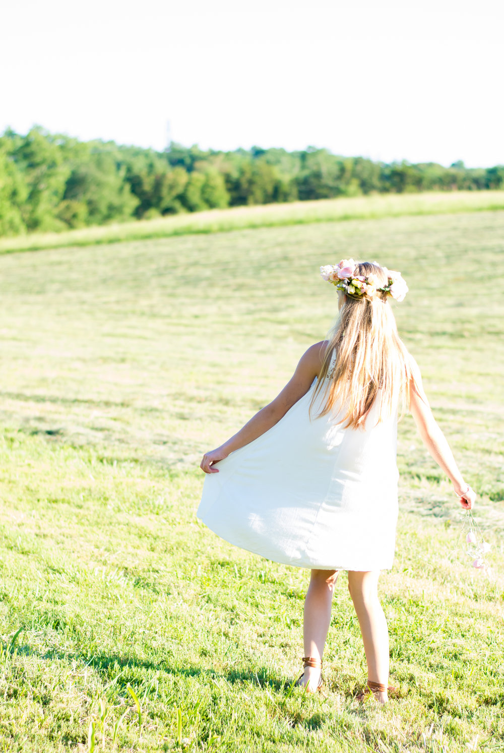 Vintage Garden Birthday Party Girl Frolicking in the Open Field / photo by Honeysuckle Rose Photography - as seen on www.GiggleHearts.com