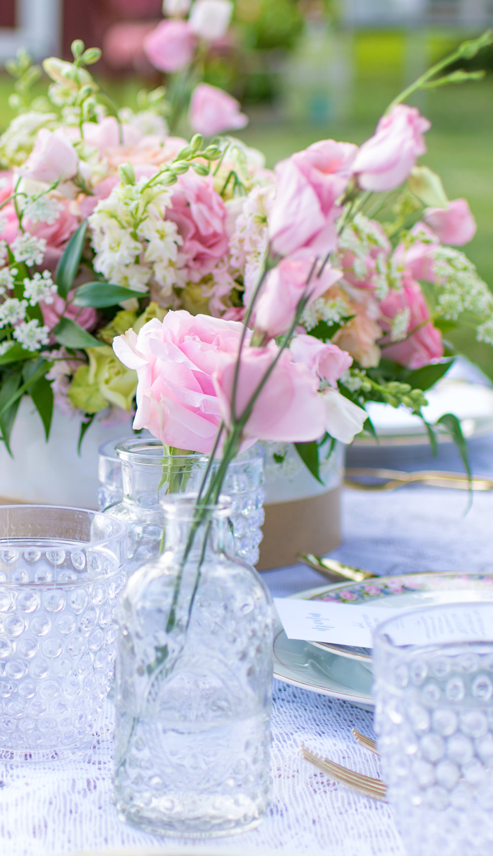 Vintage Garden Birthday Party Tablescape with clear milk glass vases / Pretty Pink Roses for Outdoor Garden Parties / photo by Honeysuckle Rose Photography - as seen on www.GiggleHearts.com