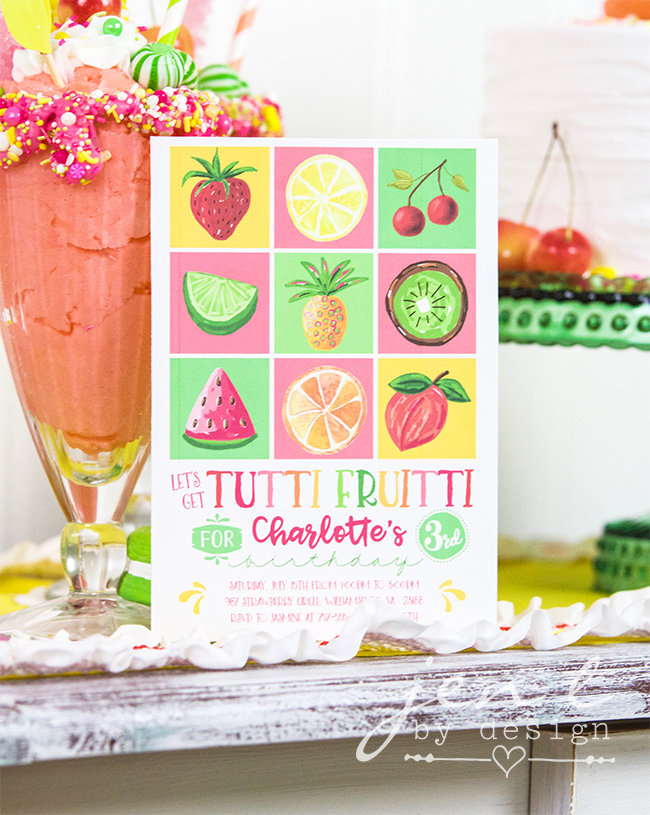 Colorful Tutti Fruitti Party Ideas / Tutti Fruitti Birthday Party Invitation with fruit illustrations in a grid format / from Jen T by design / as seen on www.GiggleHearts.com