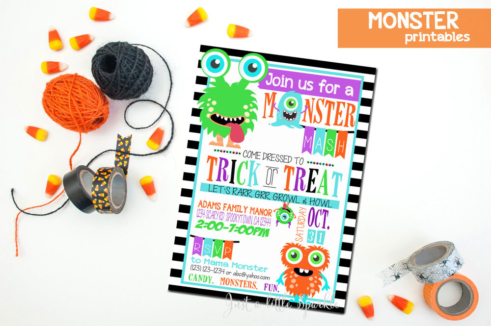 Join us for a Monster Mash Halloween party invitation from Just a Little Sparkle / from Halloween Party Invitations that Guest Will Love / Halloween Party Printables / Printable Halloween Invitations / as seen on Giggle Hearts www.gigglehearts.com