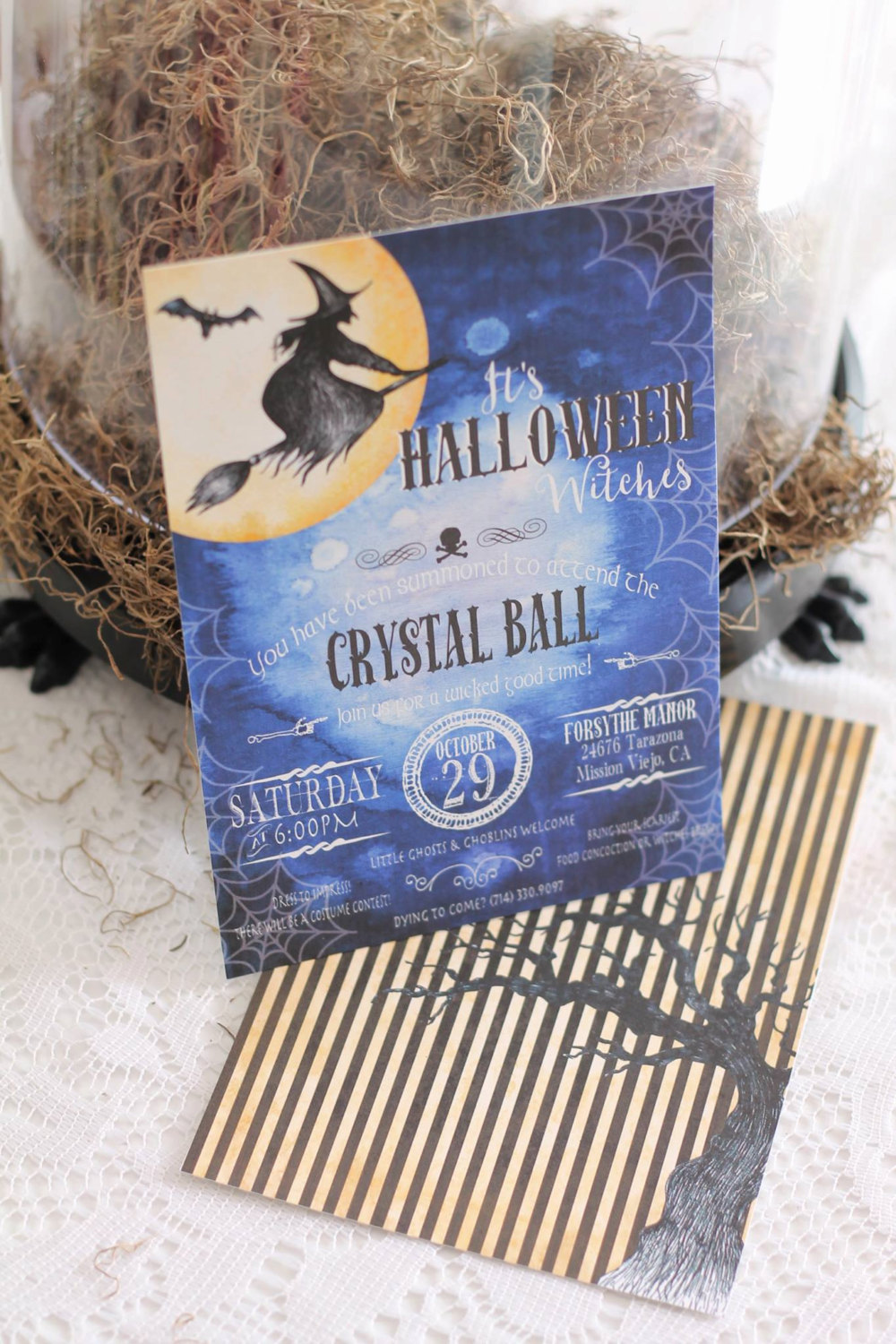 The Halloween Witches Crystal Ball party invitation from Just a Little Sparkle / from Halloween Party Invitations that Guest Will Love / Halloween Party Printables / Printable Halloween Invitations / as seen on Giggle Hearts www.gigglehearts.com