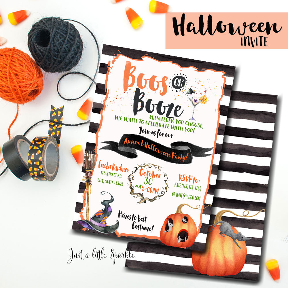 Boos or Booze Halloween party invitation from Just a Little Sparkle / from Halloween Party Invitations that Guest Will Love / Halloween Party Printables / Printable Halloween Invitations / Booze or Boos Halloween Invitations / as seen on Giggle Hearts www.gigglehearts.com