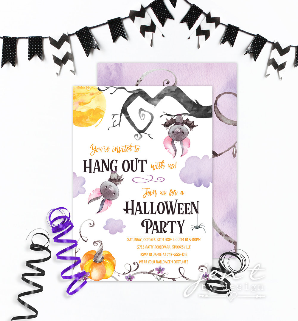 Bat themed halloween party invitation from Jen T by Design / from Halloween Party Invitations that Guest Will Love / Halloween Party Printables / Printable Halloween Invitations / as seen on Giggle Hearts www.gigglehearts.com