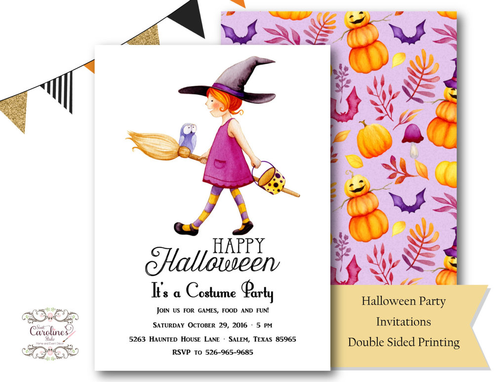 It's a Costume Party Halloween Invitation from Sweet Caroline's Studio / from Halloween Party Invitations that Guest Will Love / Halloween Party Printables / Printable Halloween Invitations / as seen on Giggle Hearts www.gigglehearts.com