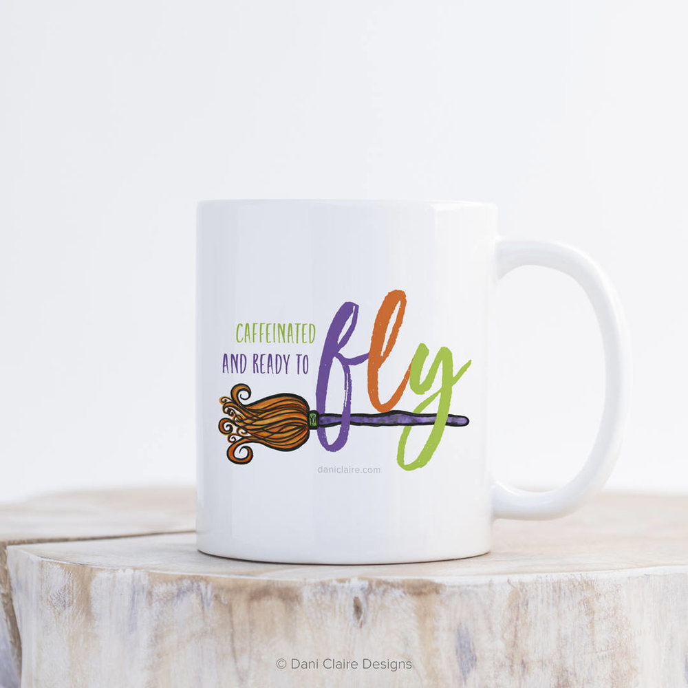 Caffeinated and ready to fly - the cutest Halloween Coffee Mug for those that need the kickstart to the day. Makes a great Halloween Gift too for moms and class teachers. As seen on Giggle Hearts www.gigglehearts.com