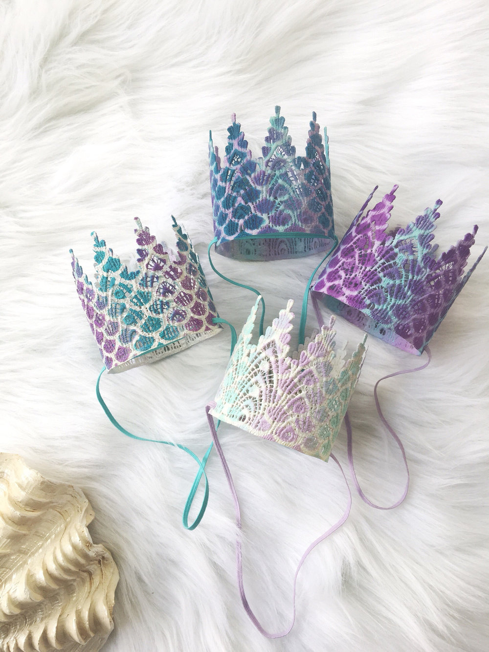 Pretty Mermaid Lace Crowns that are handcrafted and sculpted from lace