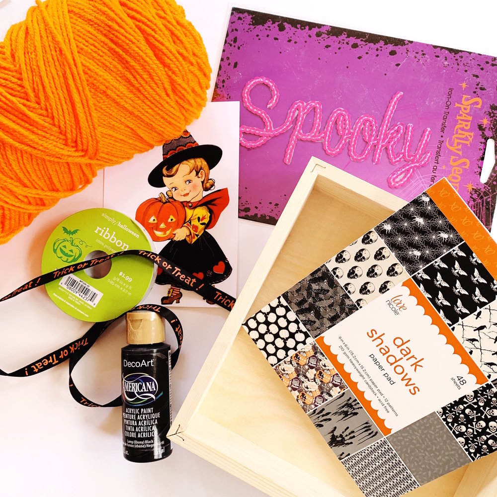 Gather up these supplies and in less than an hour you will have the cutest Halloween Mantle Decor to DIY for yourself or a Halloween gift. Click to see the entire Halloween DIY Craft on Giggle Hearts #halloween #halloweencrafts #diycrafts #shadowbox #halloween