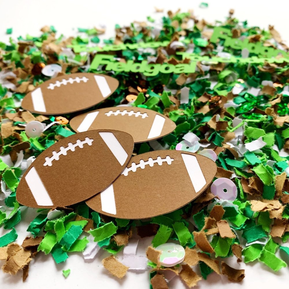 Football Party Confetti with die cuts